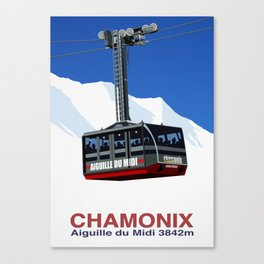 Chamonix Ski Resort , Aiguile du Midi Cable Car Canvas Print