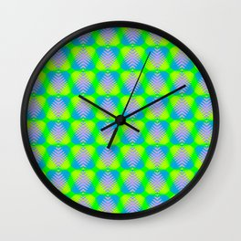 Triangular pattern of blue and purple hearts from stripes on a heavenly background in a bright inter Wall Clock