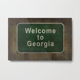 Welcome to Georgia roadside sign illustration Metal Print
