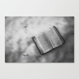 Black and white Book's little world Canvas Print