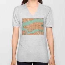 New York city map orange Unisex V-Neck