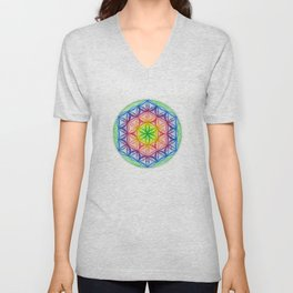 Flower of Life & the Seven Colours - The Rainbow Tribe Collection Unisex V-Neck