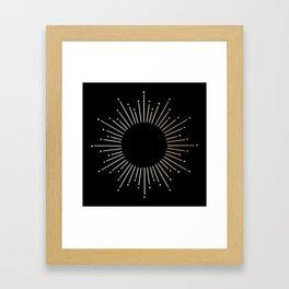 Sunburst Gold Copper Bronze on Black Framed Art Print