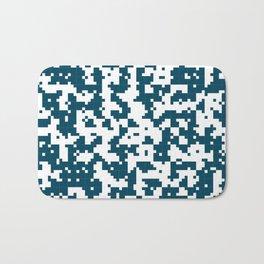 Small Pixel Big Pixel - Geometric Pattern in Dark Blue Bath Mat