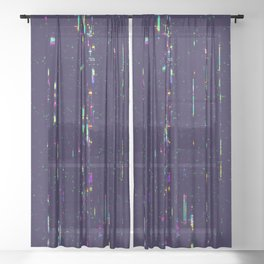 Grunge glitchy texture with tv screens Sheer Curtain