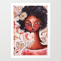 ruby Art Prints featuring Ruby by Allison Weeks Thomas