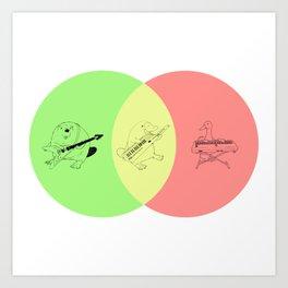 Keytar Platypus Venn Diagram - GYR Art Print