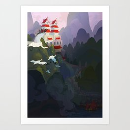 City by the river Art Print