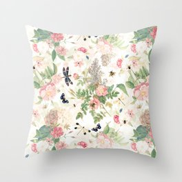 Vintage & Shabby Chic - Botanical Flower Roses Garden Throw Pillow