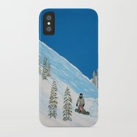 snowboarding iPhone & iPod Cases featuring Snowboarding by N_T_STEELART