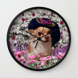 Chi Chi in Purple, Red, Pink, White Flowers, Chihuahua Puppy Dog Wall Clock
