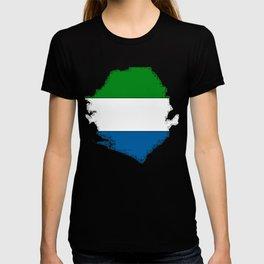 Sierra Leone Map with Sierra Leonean Flag T-shirt
