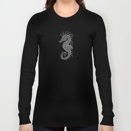 Intricate Gray and Black Tribal Seahorse Design Long Sleeve T-shirt