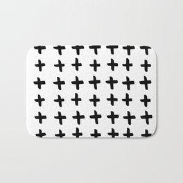 Black and white cross pattern. Modern. Scandinavian. Bath Mat