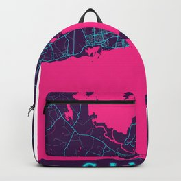 Galway Neon City Map, Galway Minimalist City Map Art Print Backpack