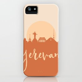 YEREVAN ARMENIA CITY SUN SKYLINE EARTH TONES iPhone Case