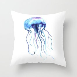 Blue & Purple Abstract Watercolor Jellyfish on White Minimalist Art Coast - Sea - Beach - Shore Throw Pillow