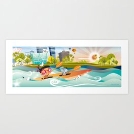 Sunday Morning Kayaking Art Print