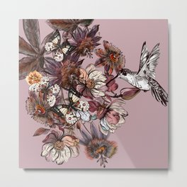 Tropical design with exotic flowers and hummingbird Metal Print