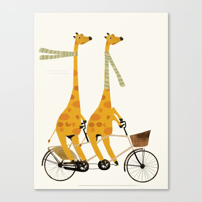 lets tandem giraffes Canvas Print