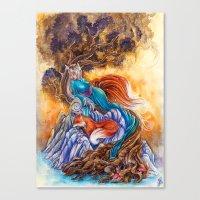 kitsune Canvas Prints featuring Kitsune by Nemeth Alina