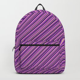 Lilac Purple Violet Inclined Stripes Backpack