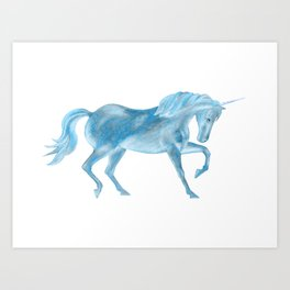 Dancing Blue Unicorn Art Print