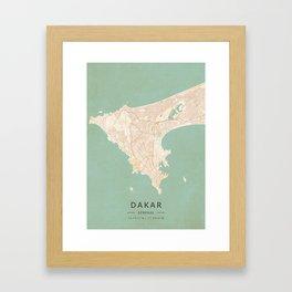 Dakar, Senegal - Vintage Map Framed Art Print