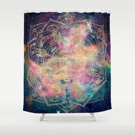 Stylish Gold mandala watercolor & Nebula Colorful Design Shower Curtain