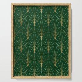 Art Deco Waterfalls // Emerald Green Serving Tray