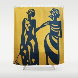 African Ladies with Fishing Nets Shower Curtain