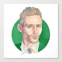 tom hiddleston Canvas Prints featuring Hiddleston by Megan Diño