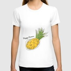 Happy Pineapple Womens Fitted Tee White MEDIUM