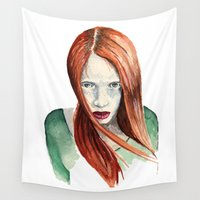 ginger Wall Tapestries featuring Ginger by Roxie Emm