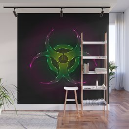 An illustration of a fluorescent biohazard symbol.  Wall Mural