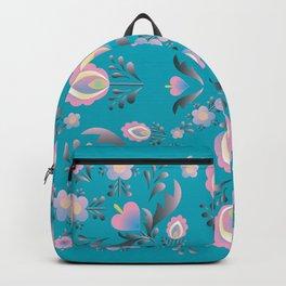 Dusty Blue Folk Flowers Backpack