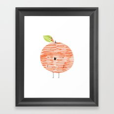 Eat Your Fruit! // Orange Framed Art Print
