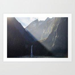 Milford Sound Waterfall Art Print