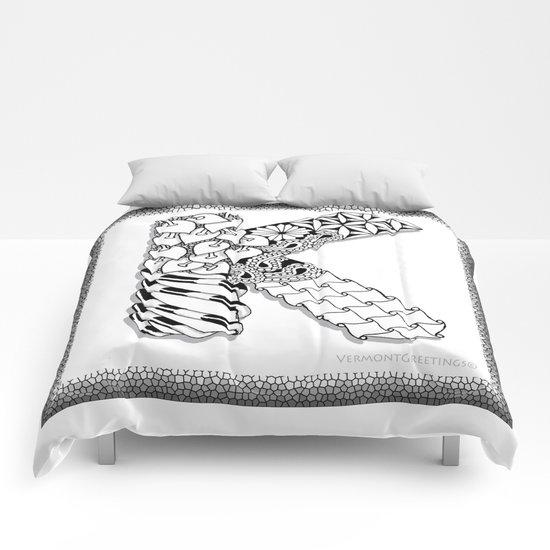 Zentangle K Monogram Alphabet Illustration Comforters