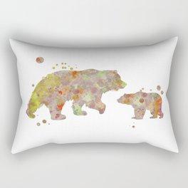 Bear Family Watercolor Painting 2 Rectangular Pillow