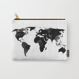 Black watercolor world map Carry-All Pouch