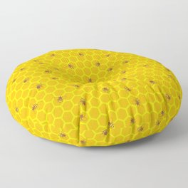 Mind Your Own Beeswax / Bright honeycomb and bee pattern Floor Pillow