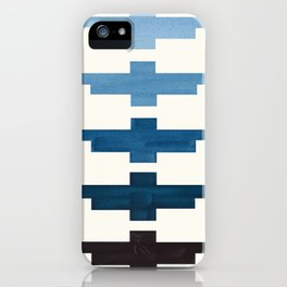 Mid Century Minimalist Ancient Aztec Inca Geometric Pattern Watercolor Blue Green Colorful Gouache P iPhone Case