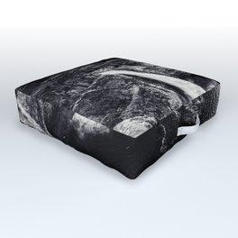 Hidden Waterfall Black and White Outdoor Floor Cushion