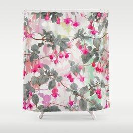 Rainbow Fuchsia Floral Pattern - with grey Shower Curtain