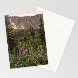 Mount Rainier Wildflower Adventure VI - Pacific Northwest Mountain Forest Wanderlust Stationery Cards