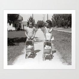 Girls Pushing Baby Buggies, 1941. Vintage Photo Art Print