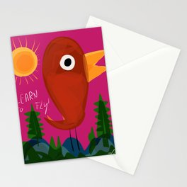 Illustration art for children bird is learning to fly Stationery Cards