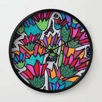 leah flores Wall Clocks featuring Flores by Carolina Delleteze