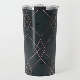 Modern Deco Rose Gold and Marble Geometric Dark Travel Mug